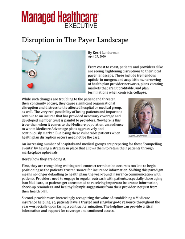 Managed Healthcare Executive Kerri Lenderman article