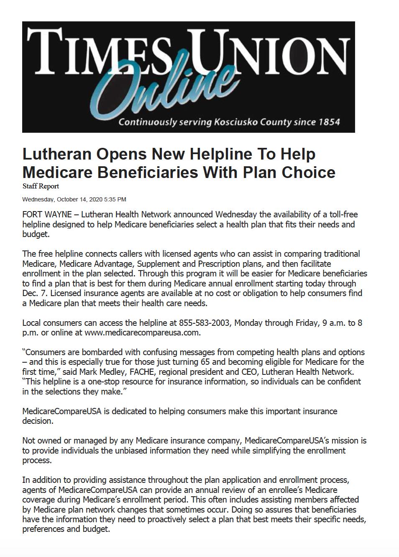 Lutheran Health Network Medicare Insurance Helpline